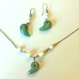Authentic Jade & Freshwater Pearl Necklace Set